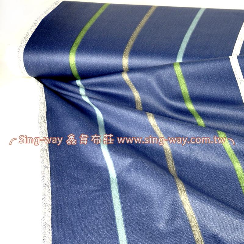 濃藍底細彩直條 簡約 條紋 精梳棉床品床單布料 CA490340