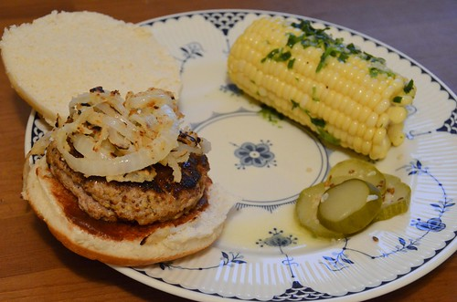 BBQ Pork Burgers & Corn on the Cob with Crispy Onion Rings & Garlic-Herb Butter