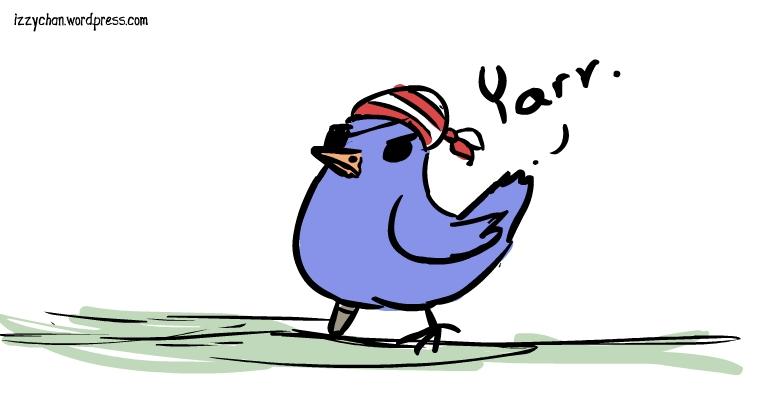 pirate bird blue