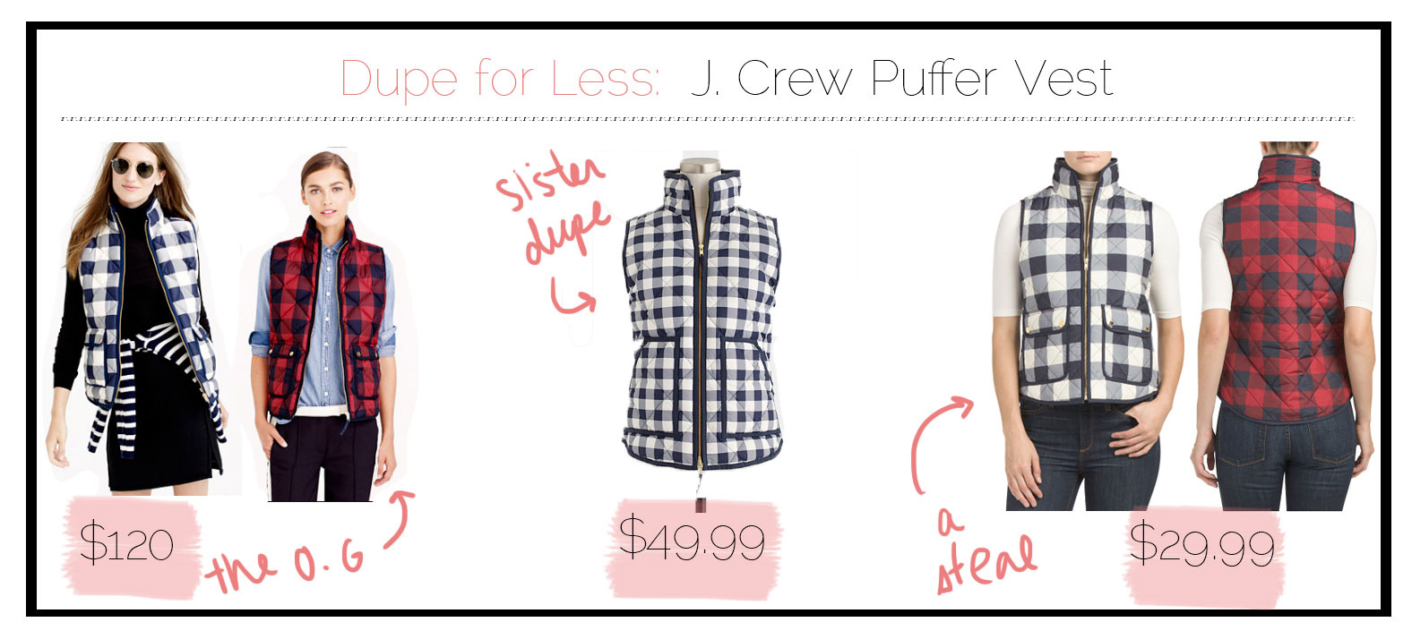 Cheaper versions of J crew buffalo plaid puffer vest