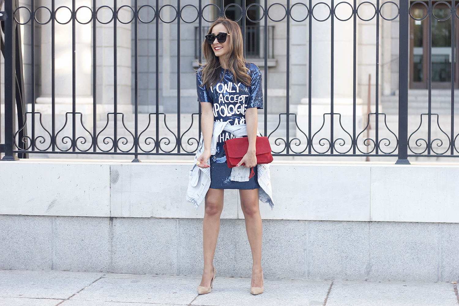 blue sequined dress nude heels denim jacket sunnies red bag accessories style fashion outfit21
