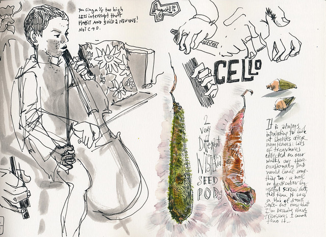 Sketchbook #100: Cello and Treasures