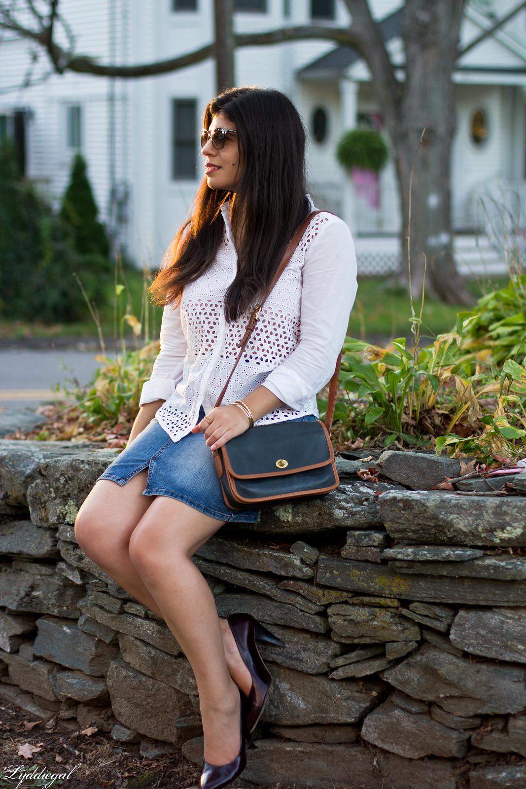 white eyelet button down, distressed denim skirt, pumps-19.jpg