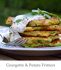 Courgette & Potato Fritters with Sumac Sauce
