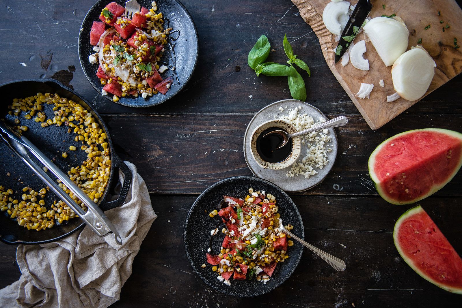 watermelon, grilled corn, & feta salad   two red bowls