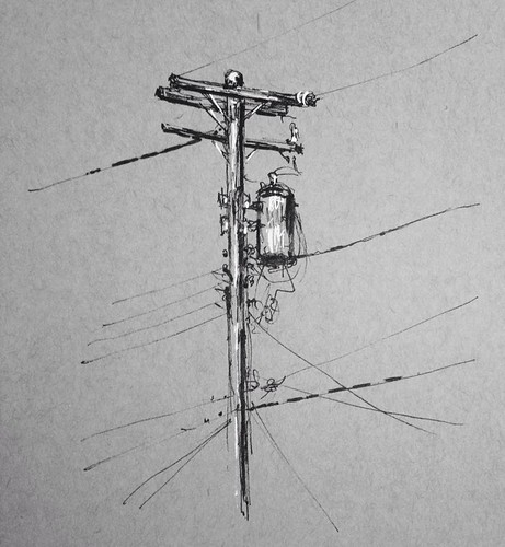 A quick sketch of the electric pole behind my in-law's house. I've kicked around sketching it for a couple of years, finally took ten minutes and did so.