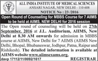 Open Round of AIIMS Counselling