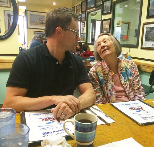 Josh and his 90-year-old grandmother at breakfast this morning.