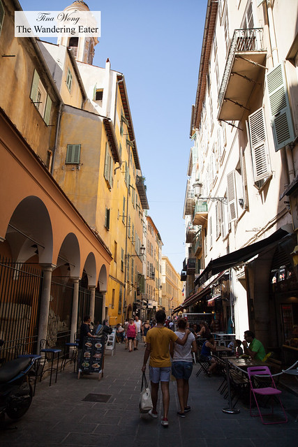 One of the streets in the Old Town in Nice, France