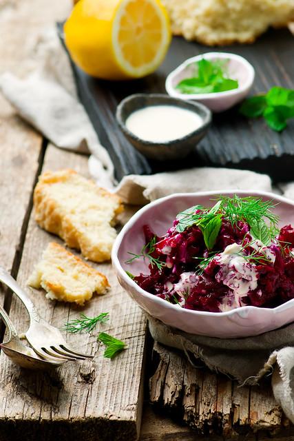 Beet salad with tahina sauce