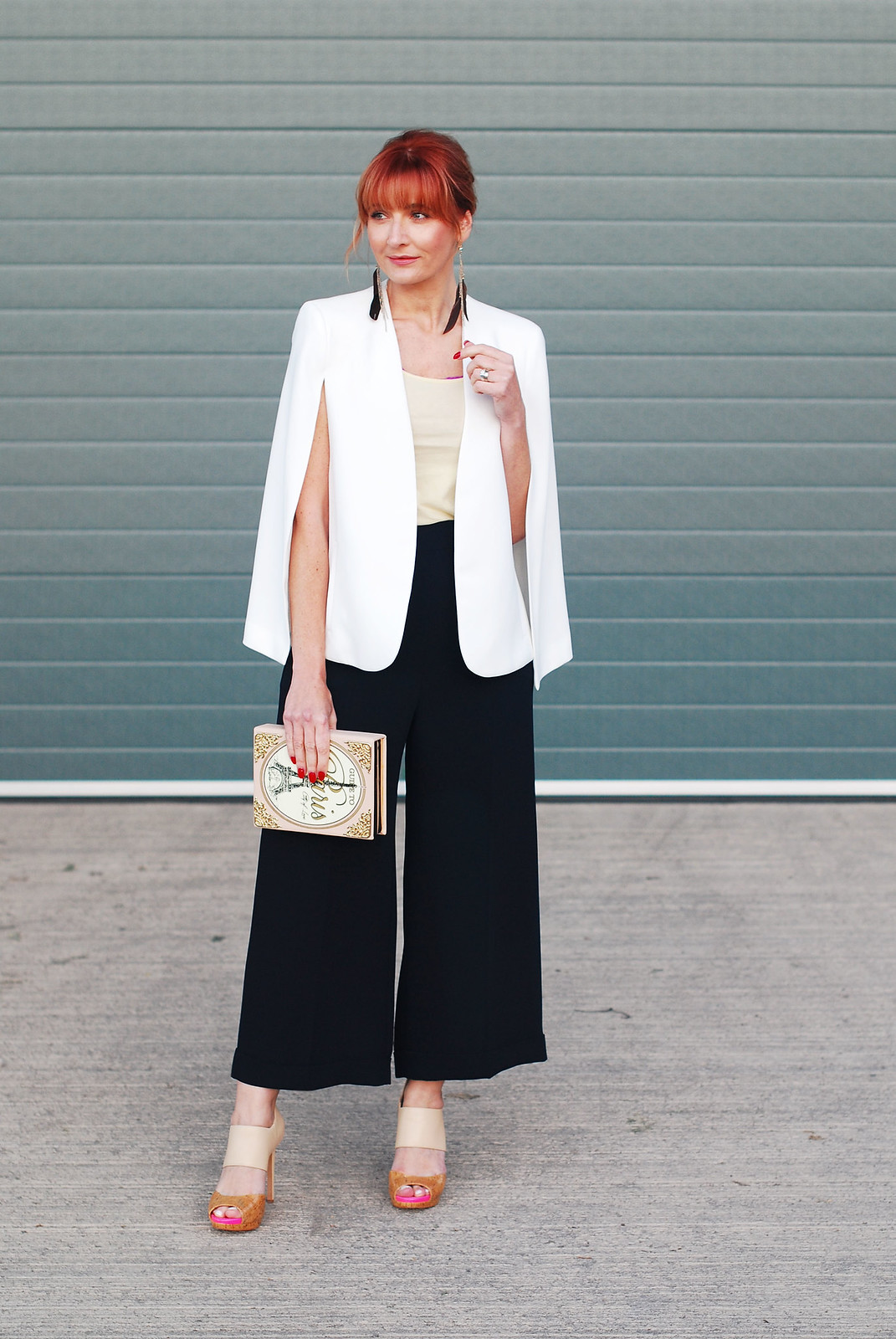 Awards ceremony outfit: White cape, navy culottes, Paris bbok clutch | Not Dressed As Lamb, over 40 style