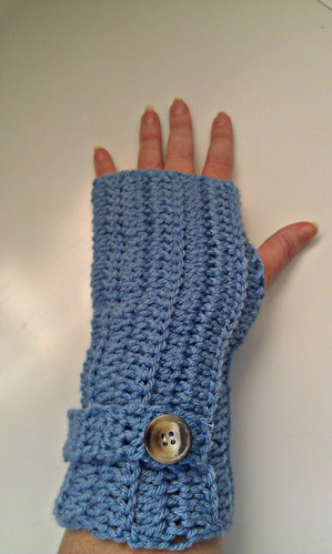 Blue Crochet Fingerless Gloves