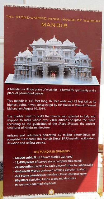 A Mandir is a Hindu place of worship. September 2016  Swaminarayan Akshardham Mandir in Robbinsville, NJ;  BAPS.org/Robbinsville IMG_0268