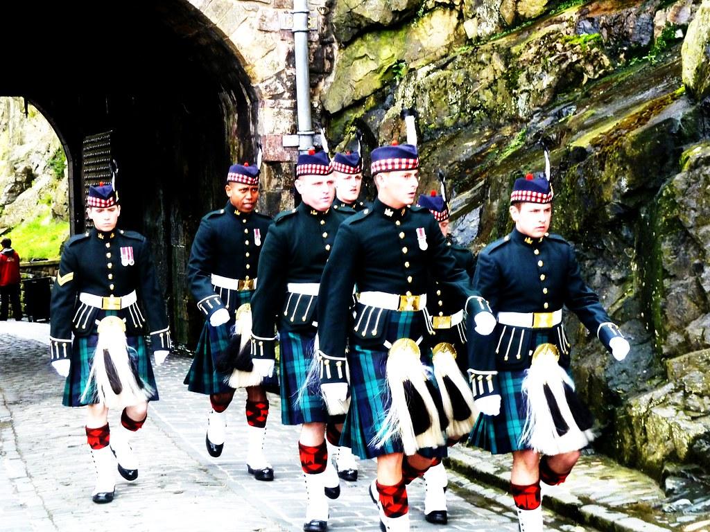 Soldiers marching into Edinburgh Castle.