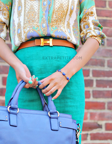 turquoise_scarfprint | by ExtraPetite.com
