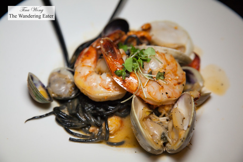 Black linguini, clams, shrimp, lobster, cockles, beurre blanc