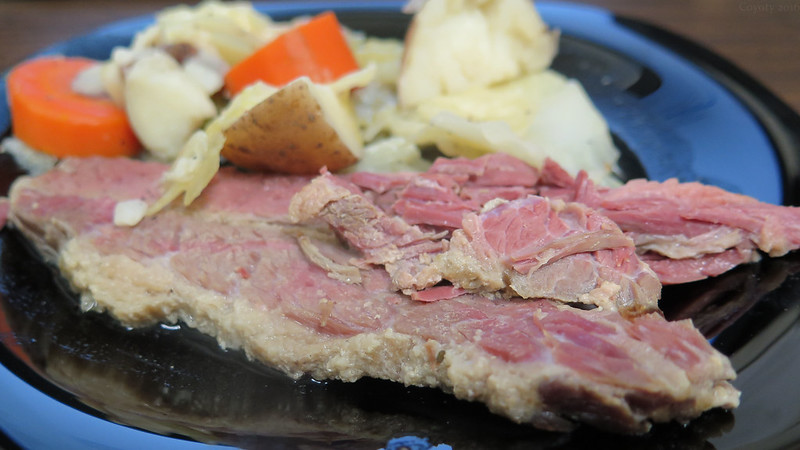 St. Patrick's Day Traditional Boiled Dinner with Corned Beef, Cabbage, Carrots and Potatoes