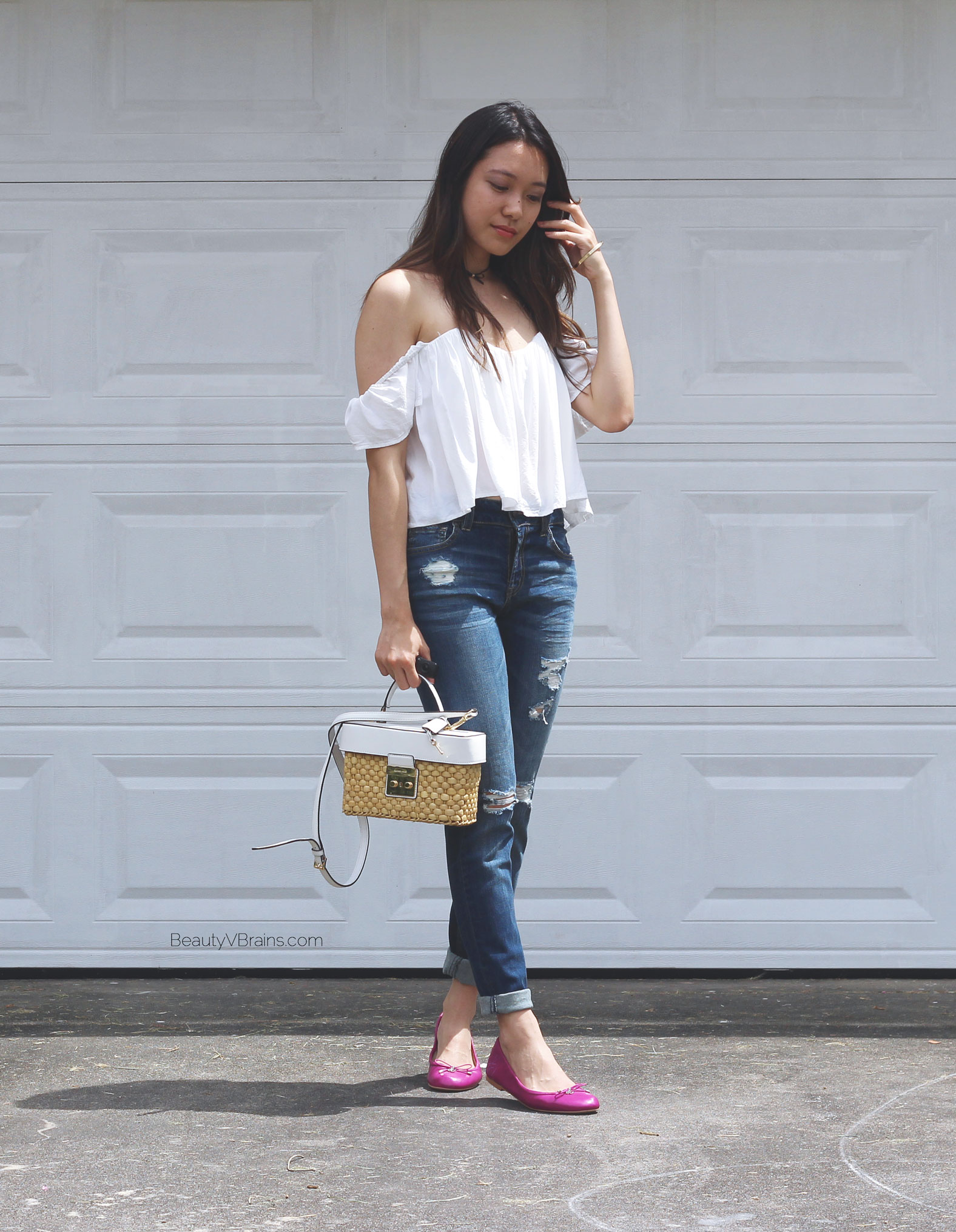 Michael Kors Gabriella bag and off the shoulder white top