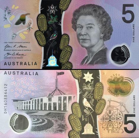 5 Dolárov Austrália 2016, polymer P62a