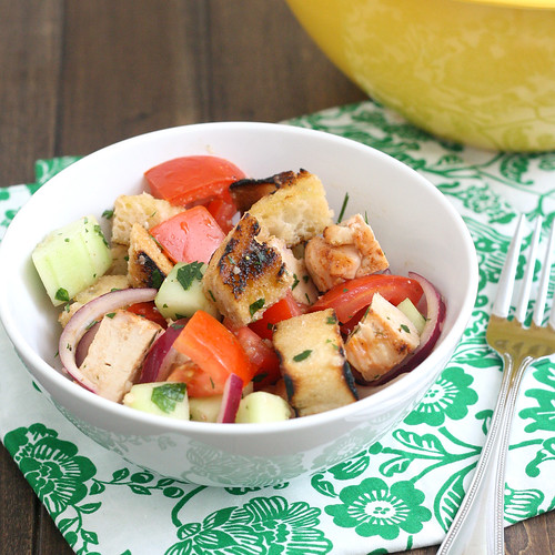Sourdough Panzanella with Grilled Chicken | by Tracey's Culinary Adventures