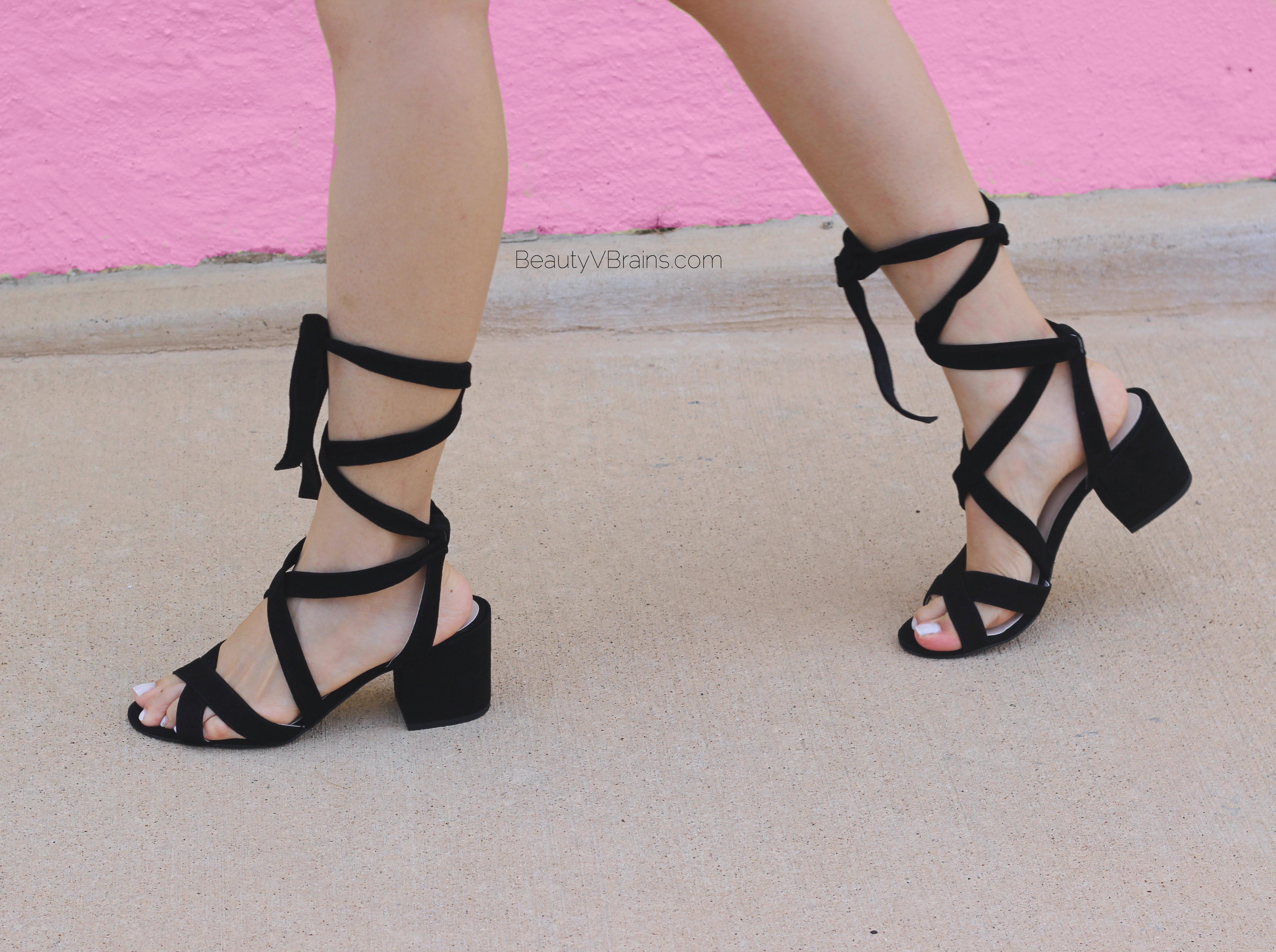 Suede wrap lace up sandals