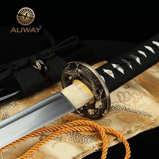 Auway-samurai-sword-Dragon-Tsuba-Black-scabbard