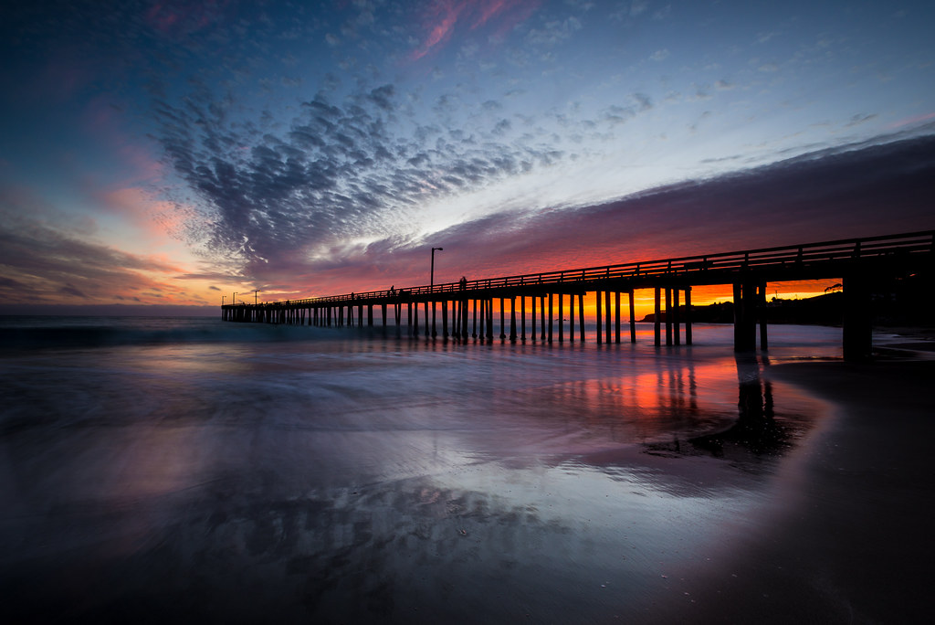 Reflections Of Cayucos Pier At Sunset