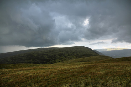Storm passing Calf Top, Yorkshire Dales above Barbondale, near Kirkby Lonsdale, Cumbria, UK