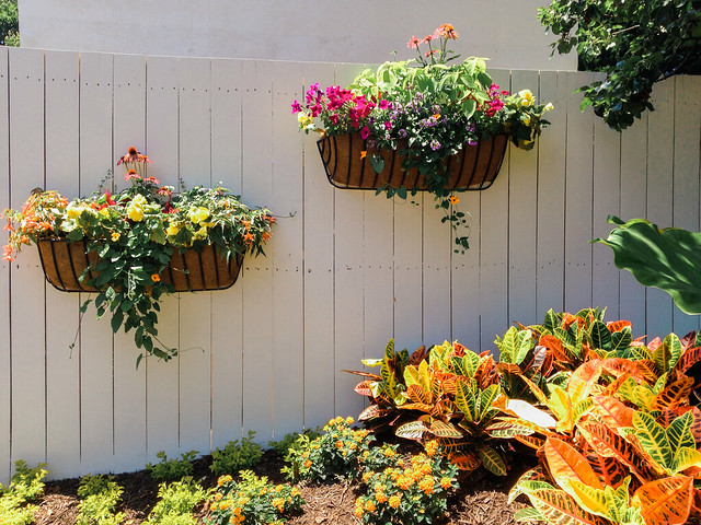Flower baskets.