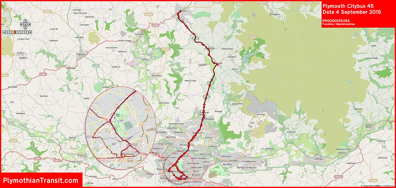 2016 09 04 Plymouth Citybus Route-045 MAP.jpg