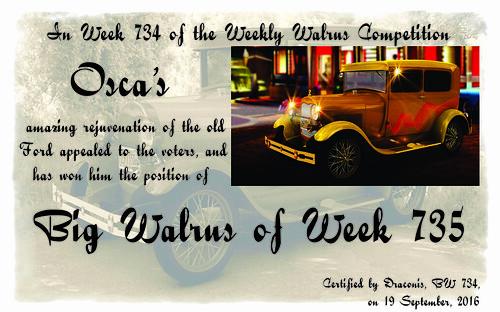 WW734 Winner Certificate - Osca