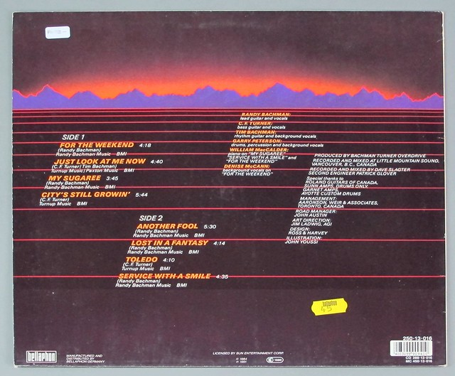 "BACHMAN TURNER OVERDRIVE BTO 1984 ALBUM SUN RECORDS 12"" LP VINYL"