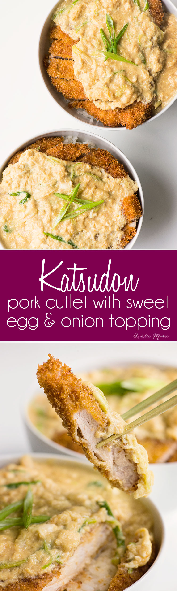 katsodon - a classic japanese dish - a sweet egg and onion topping over a panko crusted pork cutlet served over rice - recipe and video