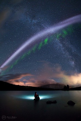 """""""Duel"""" Wow, crazy night out there! We had another wonderful aurora display here in the northern Banff skies, but it is this feature, almost to the South, that got most of my attention last night: A rather odd-looking """"picket fence"""" aurora shooting across"""