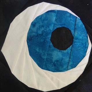 Mad eye Moody's eye. The start of a Halloween quilt top.