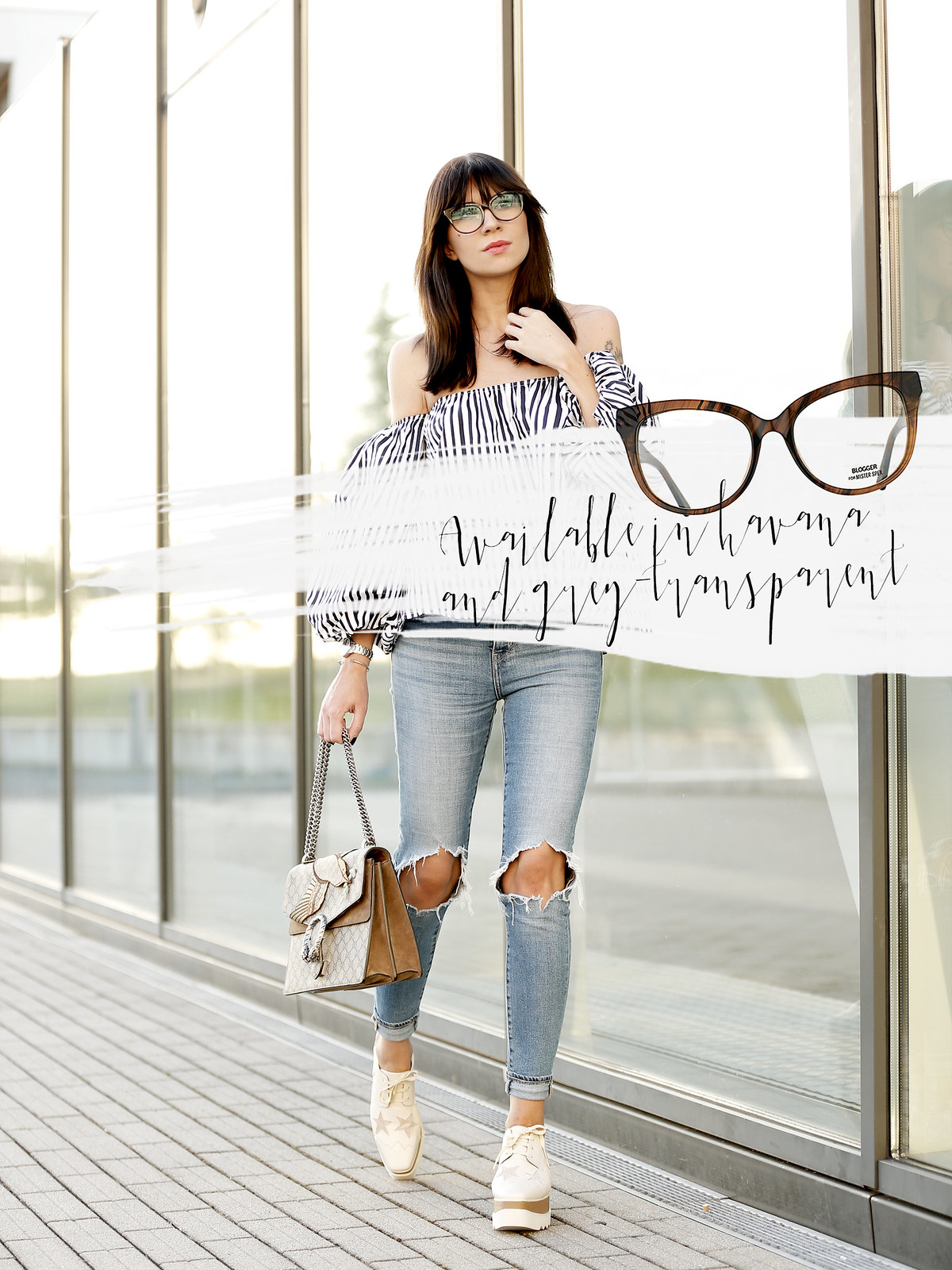 blogger for mister spex glasses collection launch september bloggercollection design cats & dogs fashion style blog ricarda schernus modeblogger off shoulder striped top gucci dionysus bag stella mccartney platform shoes ootd lookbook onlineshop brille 5