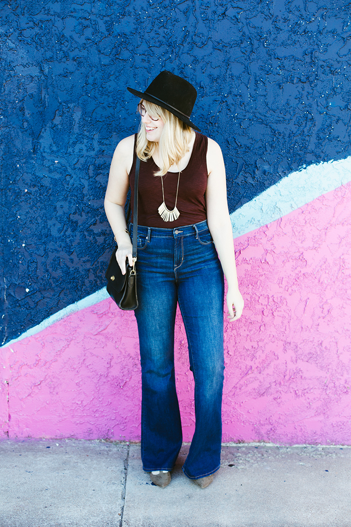 flare jeans black hat1