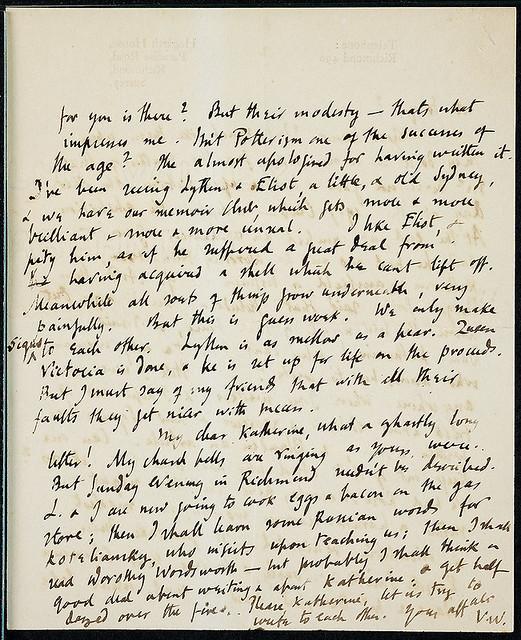 carta de Virginia Woolf para Katherine Mansfield