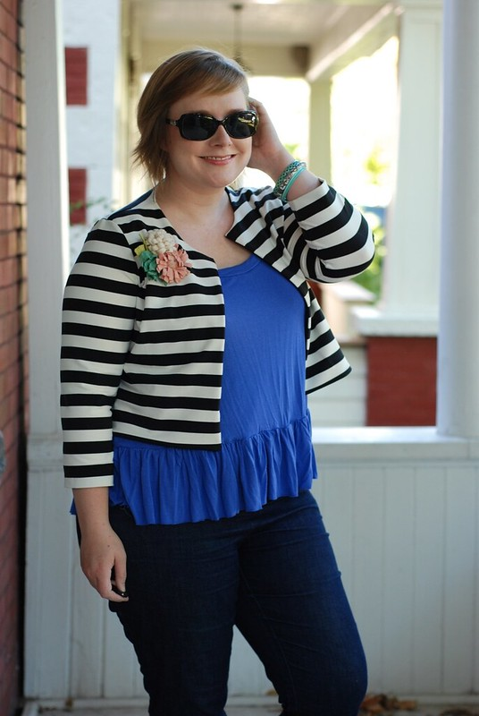Jenna Cardi in Striped Knit