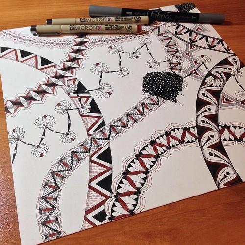 WIP #zentangle #tangle #tangling #zia #zendala #tenthousandtangles #alphabetsalad #laurelreganczt #opus