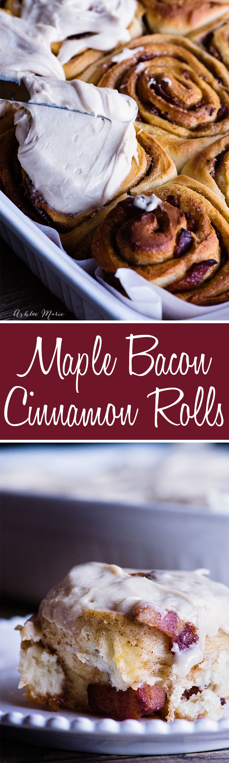 these bacon cinnamon rolls are topped with maple cream cheese for a delicious breakfast