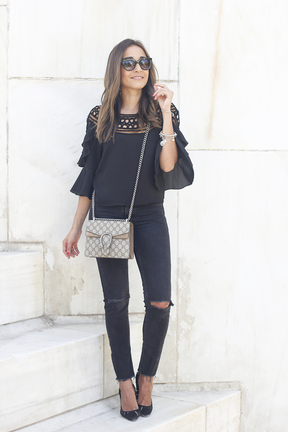 black top black jeans heels gucci bag sunnies outfit fashion style19