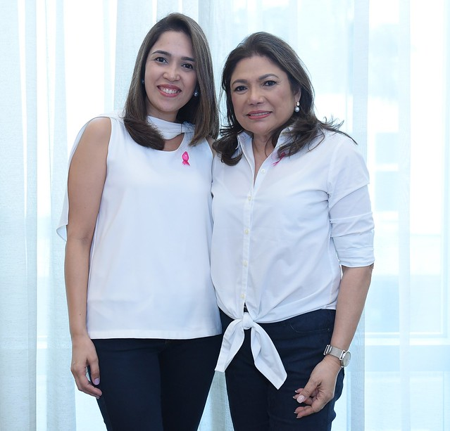Breast cancer survivor Beth Romualdez (R) and daughter Via Romualdez-Reyes