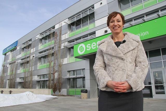 Gail Stepanik-Keber of Servus Credit Union talks about greening the Servus building - 09