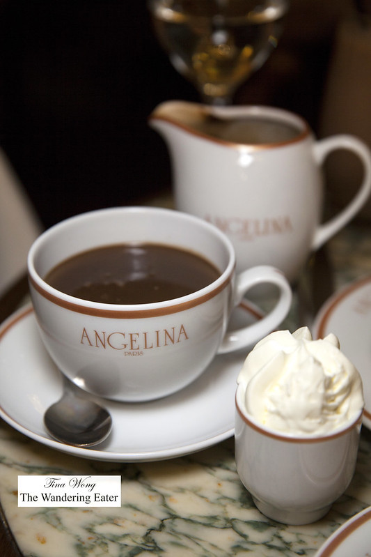 My hot chocolate set with whipped cream on the side