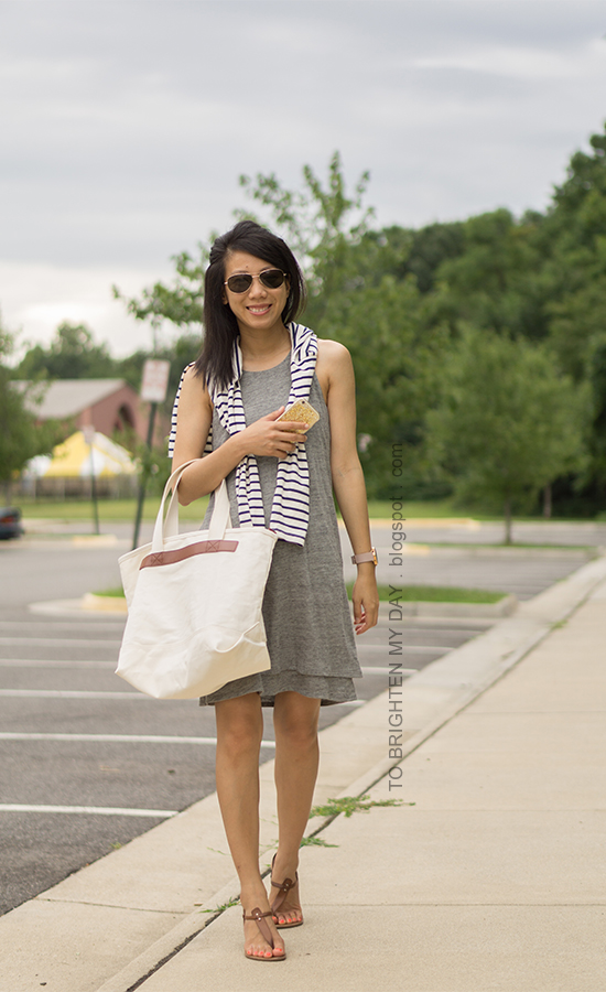 navy striped top, gray tank tiered dress, oversized watch, canvas tote, brown sandals