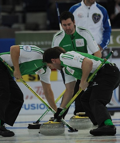 Edmonton Ab.Mar4,2013.Tim Hortons Brier.Sasktachewan skip Brock Virtue,lead D.J.Kidby,second Chris Schille.CCA/michael burns photo | by seasonofchampions