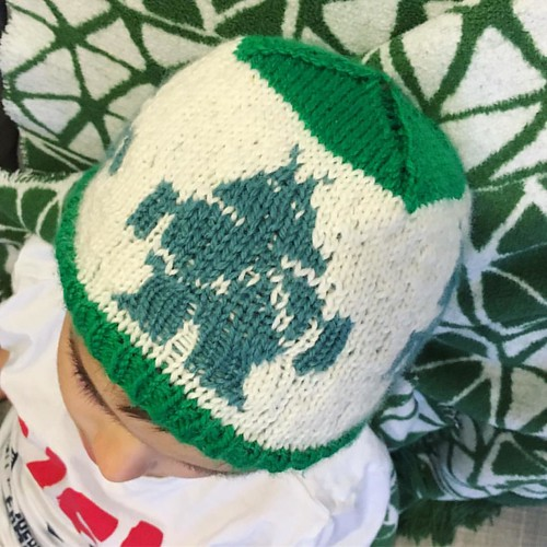 The beauty of Irish summer weather is that LB can wear his #handknit #robot hat right away. #knitstagram #ravellenics2016 #ravelry #theknitlife #colorwork