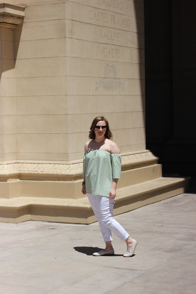Rosegal Off the Shoulder Top and White Jeans-5