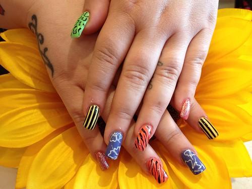 Acrylic nails with multi coloured nail art | Nic Senior ...